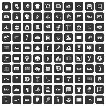100 icônes de jeu de jeu dans la couleur noire isolé illustration vectorielle Banque d'images - 83096133