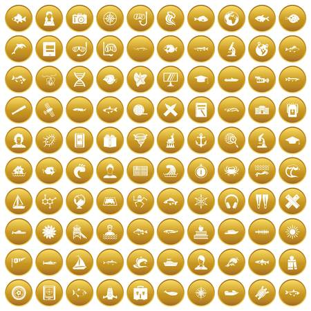 100 oceanologist icons set in gold circle isolated on white vectr illustration Illustration
