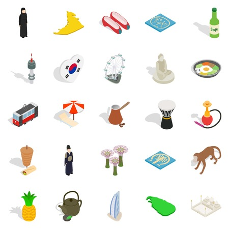 Spirit of Korea icons set, isometric style