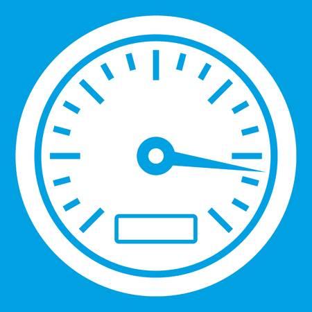 Speedometer icon white isolated on blue background vector illustration Illustration