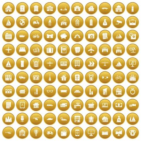 100 property icons set gold