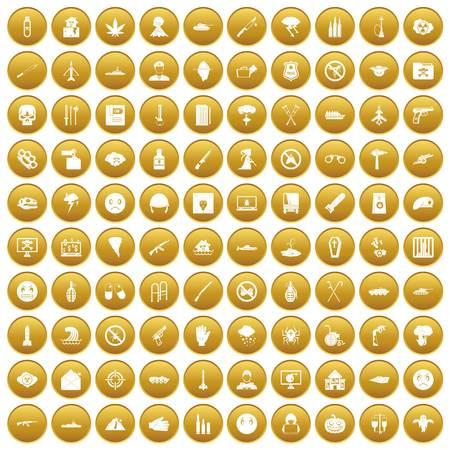 100 oppression icons set gold