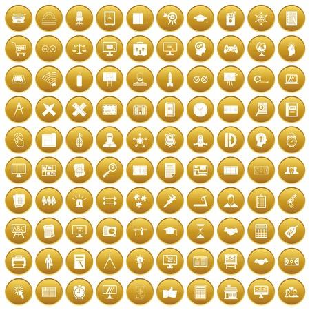 100 plan icons set gold Illustration