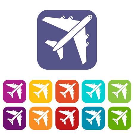 pilot  cockpit: Passenger airliner icons set