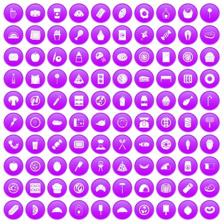 tack: 100 delicious dishes icons set purple Illustration