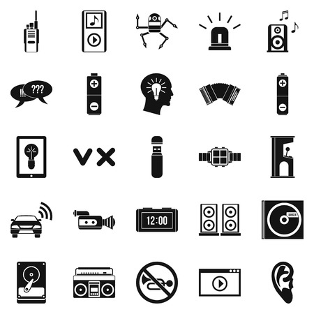 silent: Sound icons set, simple style Illustration