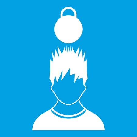 Man with the weight over head icon white vector illustration Illustration