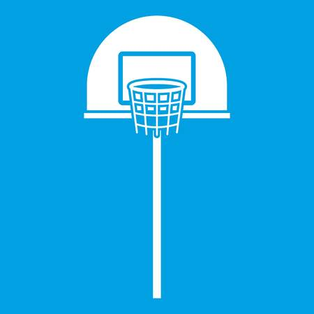 Street basketball hoop icon white isolated on blue background vector illustration