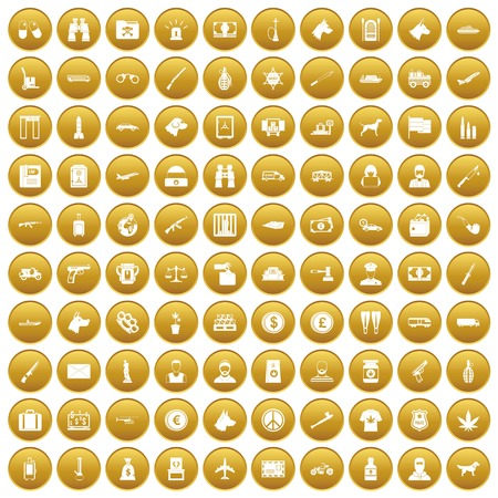 100 smuggling icons set gold Illustration
