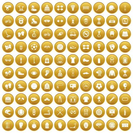 100 sport accessories icons set gold