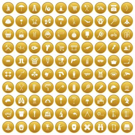 100 tackle icons set gold Illustration