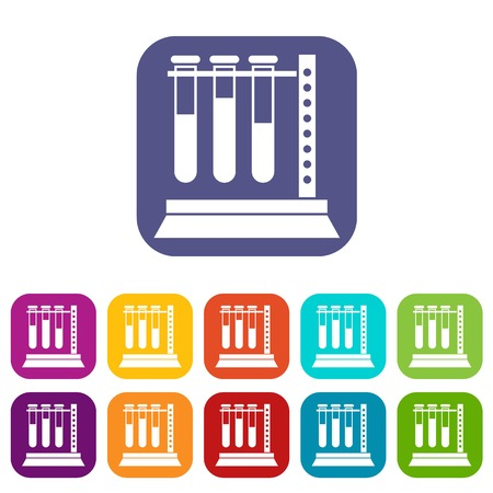 Medical test tubes in holder icons set Stock Vector - 83103578