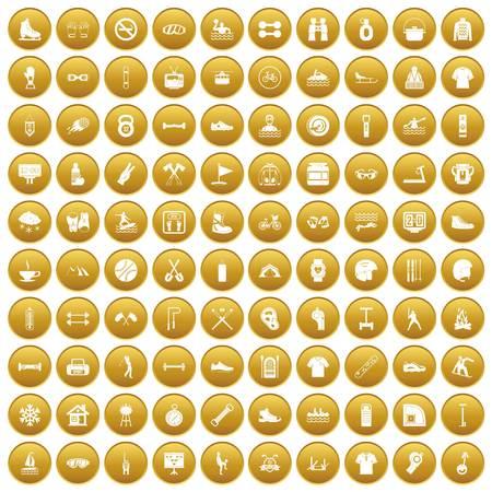 100 sport life icons set gold Illustration