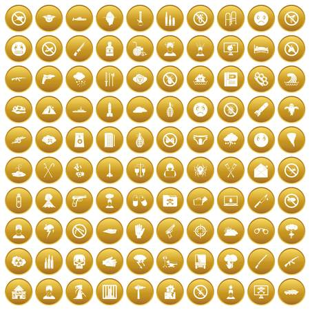 100 tension icons set gold