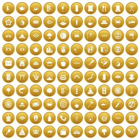 100 sushi bar icons set gold