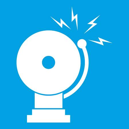 Fire alarm icon white isolated on blue background vector illustration