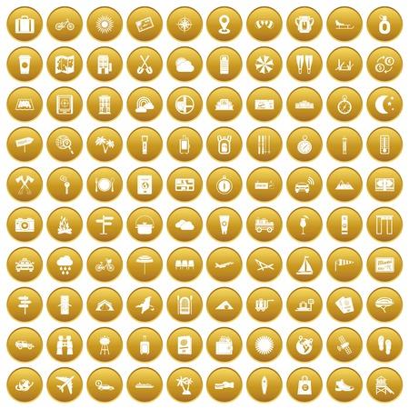100 tourist trip icons set gold Illustration