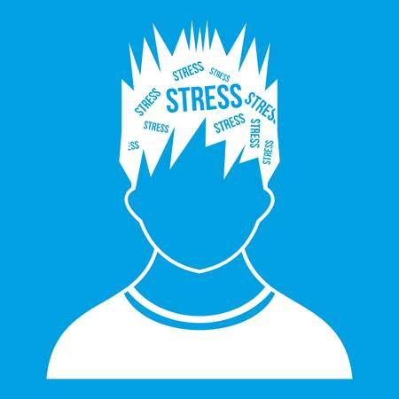 Word stress in the head of man icon white isolated on blue background vector illustration