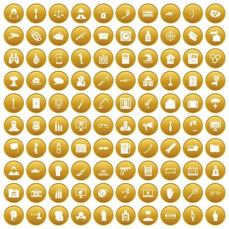 100 violation icons set gold