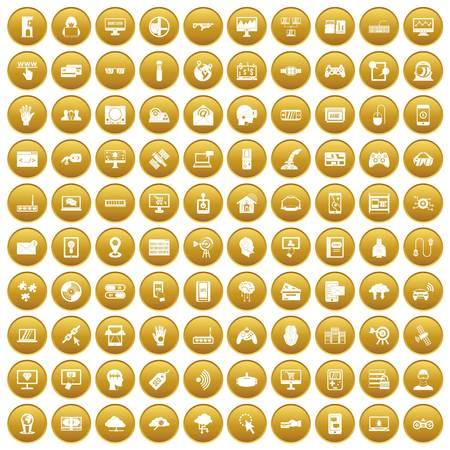 100 virtual icons set gold