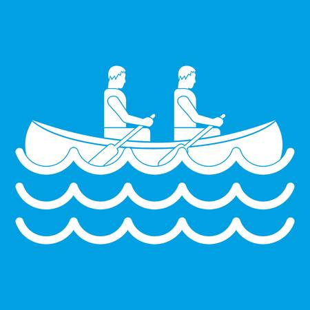 interracial: Canoeing icon white Illustration