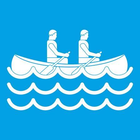 Canoeing icon white Illustration