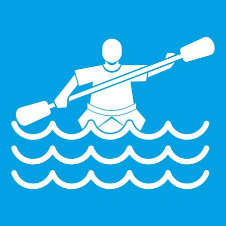 Male athlete in a canoe icon white isolated on blue background vector illustration