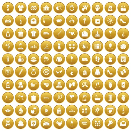 100 woman happy icons set in gold circle isolated on white vectr illustration