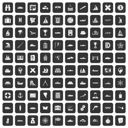 rope bridge: 100 shipping icons set in black color isolated vector illustration