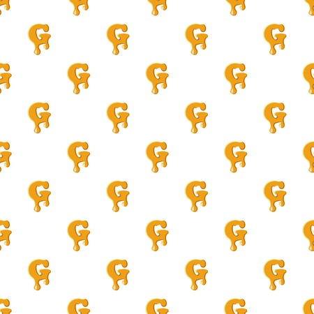 Letter G from honey pattern seamless repeat in cartoon style vector illustration