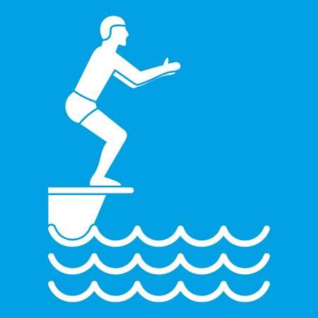 Man standing on springboard icon white