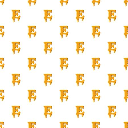 Letter E from honey pattern seamless repeat in cartoon style vector illustration