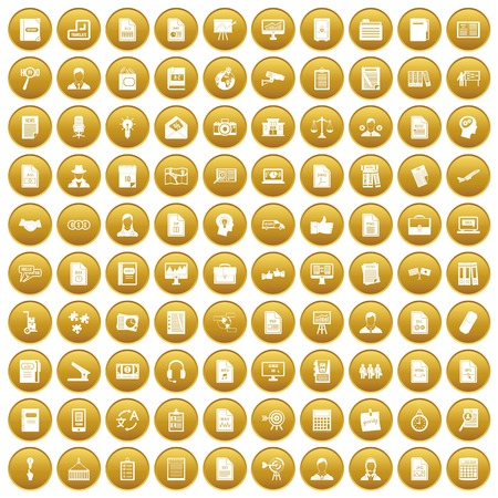 100 work paper icons set gold