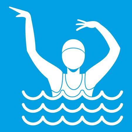 natación sincronizada: Nadador en una piscina icono blanco
