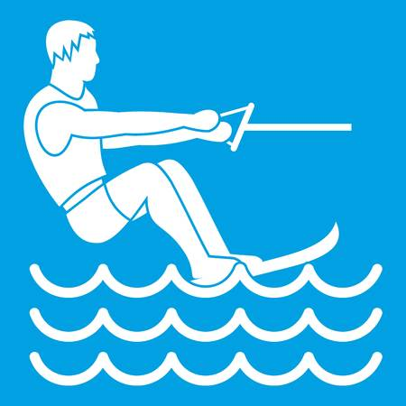 exciting: Water skiing man icon white