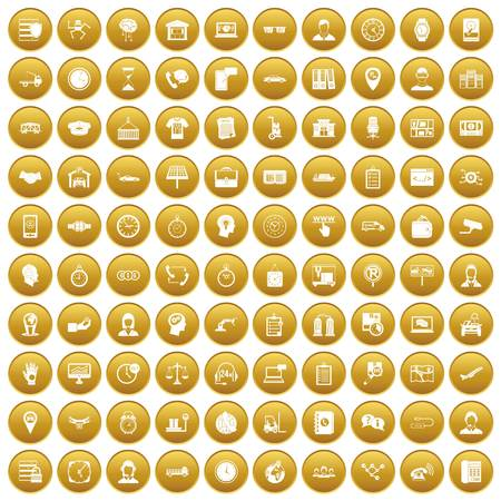 100 working hours icons set gold Illustration