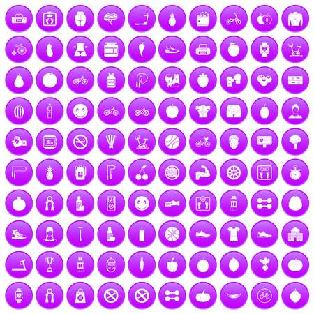 100 fitness icons set in purple circle isolated on white vector illustration