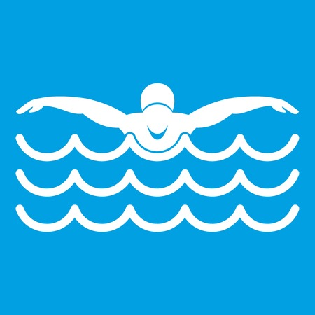 swimming cap: Butterfly swimmer icon white Illustration