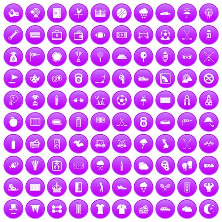 rope bridge: 100 golf icons set in purple circle isolated on white vector illustration