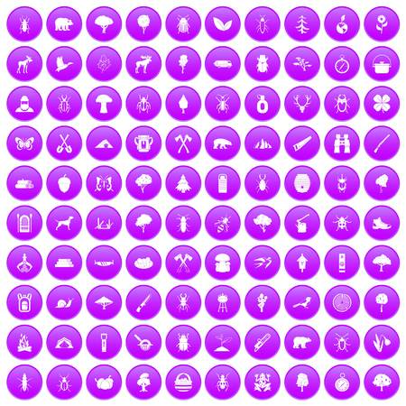 100 forest icons set in purple circle isolated on white vector illustration Ilustração