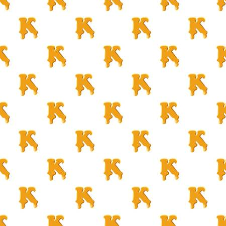 Letter K from honey pattern seamless repeat in cartoon style vector illustration Çizim