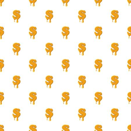Letter S from honey pattern seamless repeat in cartoon style vector illustration Çizim