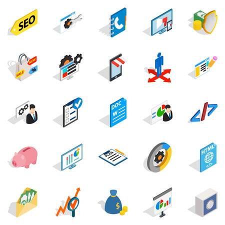 Law icons set. Isometric set of 25 law vector icons for web isolated on white background