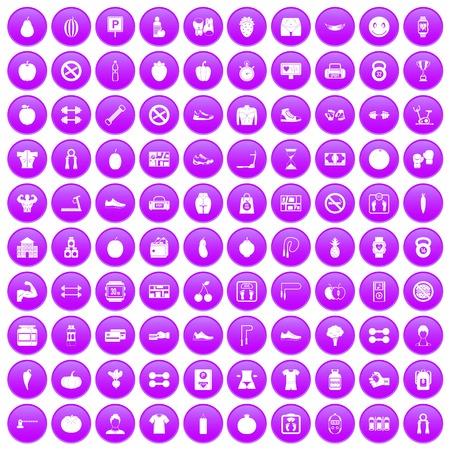 100 die gymnastiekpictogrammen in purpere cirkel worden geplaatst op witte vectorillustratie wordt geïsoleerd