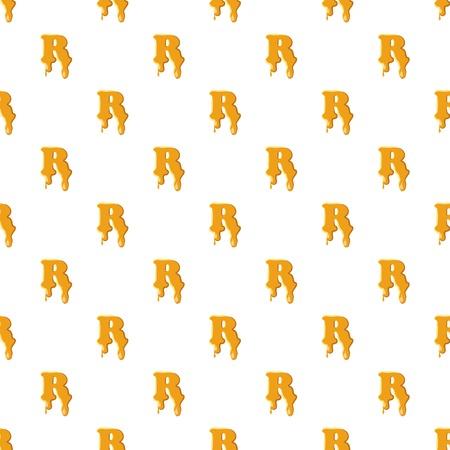 Letter R from honey pattern seamless repeat in cartoon style vector illustration Ilustração