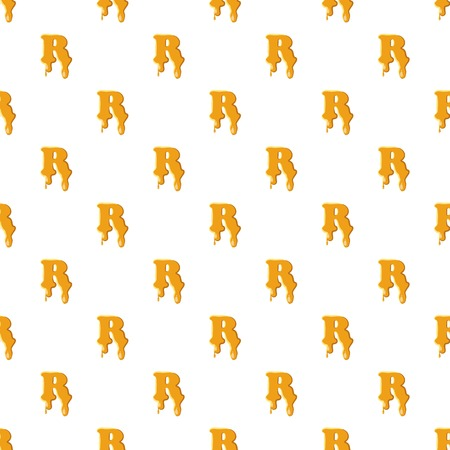 Letter R from honey pattern seamless repeat in cartoon style vector illustration Illustration