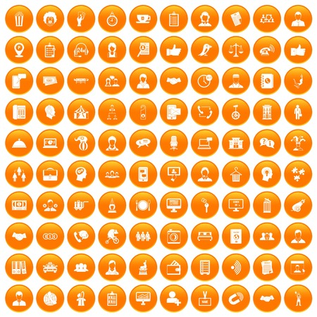 100 coherence icons set in orange circle isolated vector illustration Illustration