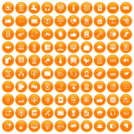 100 communication icons set orange
