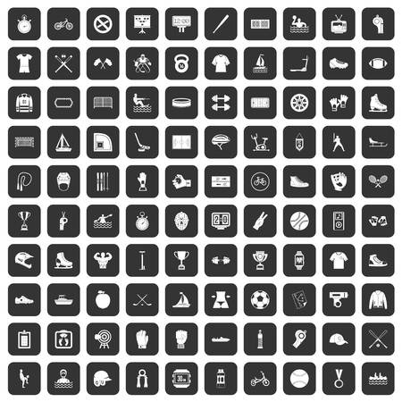bicycle pump: 100 sport team icons set in black color isolated vector illustration Illustration