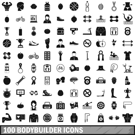 bicycle pump: 100 bodybuilder icons set in simple style for any design vector illustration